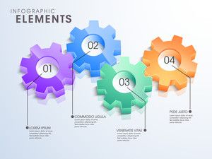 3D glossy gears infographic elements in different colors for your business reports and financial data presentation.