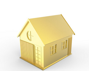 3d Golden House Symbol