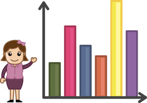 3d Graph Bars - Business Cartoon Character Vector