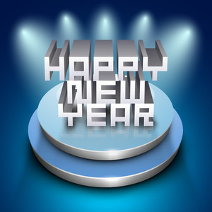 3d Happy New Year Text On Stage On Shiny Blue Background