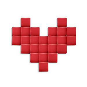 3d Heart From Red Squares