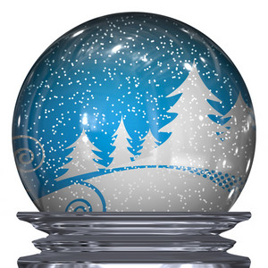 3d Illustration of a realistic snow globe with a winter scene inside.