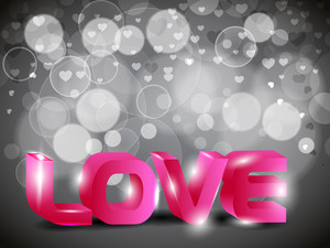 3d Illustration Of Love Text On Bokeh Background. Eps10