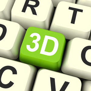 3d Key Shows Three Dimensional Printer Or Font