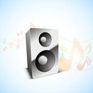 3D loud speaker on musical nodes decorated blue background.