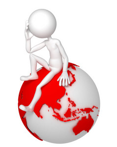3d Man Sitting On Earth Globe In A Thoughtful Pose. Asian And Australian Side.