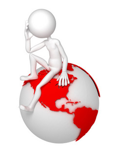 3d Man Sitting On Earth Globe In A Thoughtful Pose.