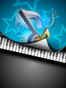 3d Music Notes On Creative Colorful Music Background.