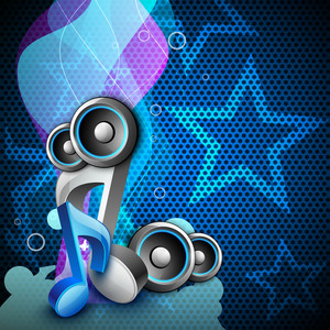3d Music Notes With Speakers On Creative Colorful Wave Background.