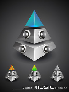 3d Music Pyramid With Speakers And Transperancy And Glossy Effect.