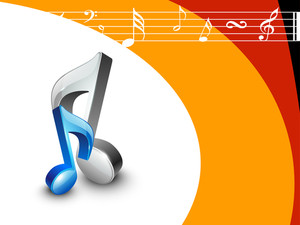 3D musical icons in grey and blue color on colorful musical abstract background.
