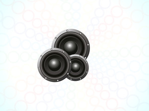 3D musical sounds on grey abstract background.