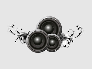 3D musical sounds with floral design on grey background.