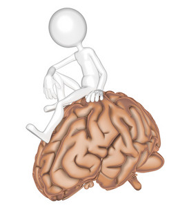 3d Person Sitting On A Brain.