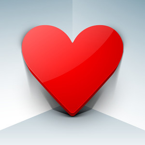 3d Red Heart On Grey Background