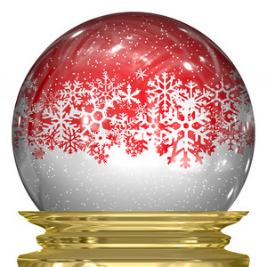 3d snow globe with snow flakes floating around inside.