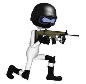 3d Soldier Aiming Assault Gun