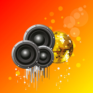 3D sounds and golden ball on shiny orange and yellow background.