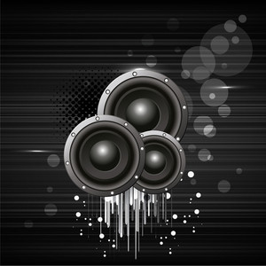 3D sounds on grey background.