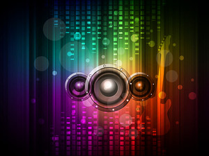 3D speakers on colorful abstract background.