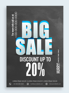 3D text Big Sale with discount offer in chalkboard style can be used as poster