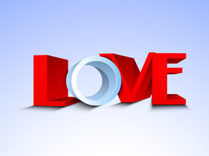 3d Text Love In Red And White