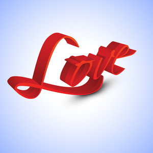 3d Text Love In Red