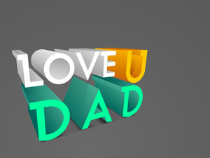 3d Text Love You Dad On Grey Background