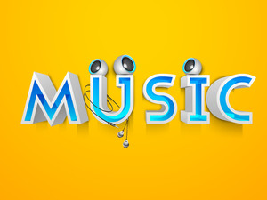 3d Text Music With Speakers On Yellow Background
