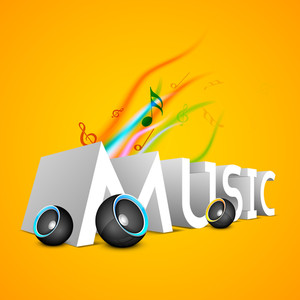 3d Text Music With Speakers On Yellow Background-