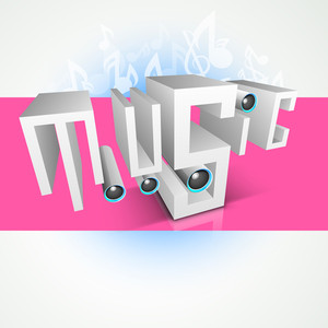 3d Text With Speakers On Pink Background