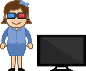 3d Tv - Business Cartoons Vectors