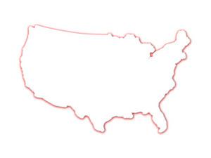 3D USA mappa di contorno