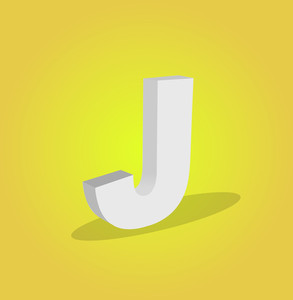 3d Vector Alphabet J Text