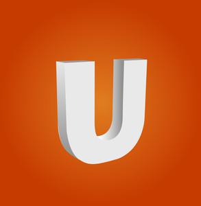 3d Vector Alphabet U Text