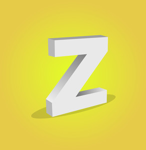 3d Vector Alphabet Z Text