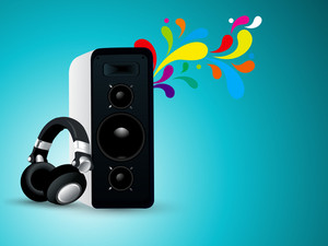 3S musical player and headphone on abstract background.
