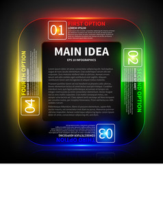 4 Colorful Glowing Options Around The Main Idea.