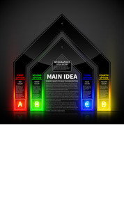 4 Colorful Glowing Options In The Form Of The Gate. Useful For Presentations And Advertising.