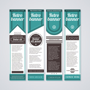 4 Vertical Retro Banners On White Background. Useful For Advertising Or Web Design.