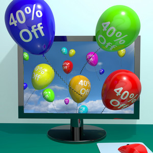 40% Off Balloons From Computer Showing Sale Discount Of Forty Percent Online