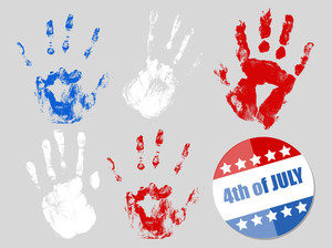 4th Of July Badge And Hand Prints Set Patriotic Usa Theme Vector