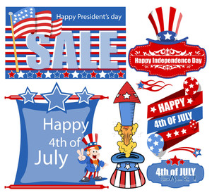 4th Of July Banner And Various Designs Vector Set