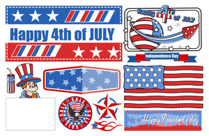 4th Of July Celebration  Vector Designs Set