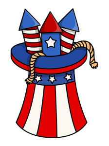 4th Of July Fireworks In Uncle Sam Hat Vector Design
