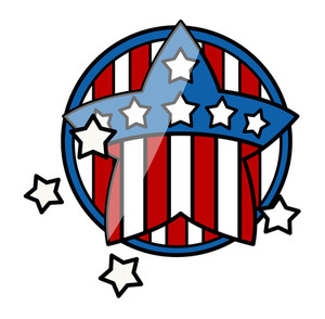 4th Of July Symbol Glossy Icon Vector