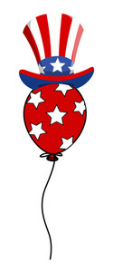 4th Of July Uncle Sam Hat On Balloon Vector