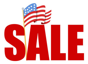 4th Of July Vector Sale Text With Flag Of America