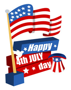 4th Of July With Flag And Hat Vector