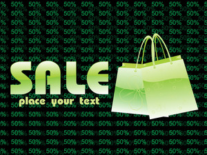 50% Discount Background With Shopping Bag